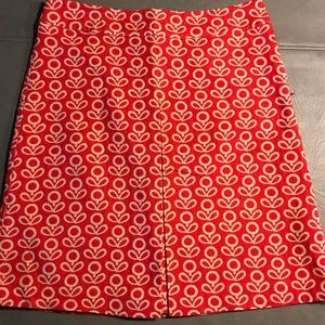 Boden Women's A Line Red Jacquard Skirt Sz 8